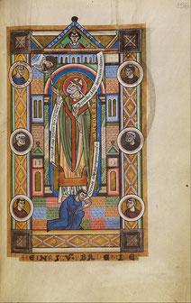 Der heilige Bernward, ihm zu Füßen der Stifter Henricus