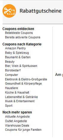 Kategorien Amazon Gutscheincode