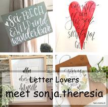 Letter Lovers - sonja.theresia zu Gast im Lettering Interview mit einer DIY Anleitung für ein Lettering Schild aus Vinylbodenplatten