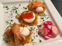 Kartoffelpüfferchen + Räucherla.