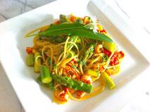 Spaghetti + Grünspargel