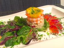 Taschenkrebs + Garnelen-Salat