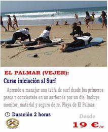 curso iniciación al surf en El Palmar