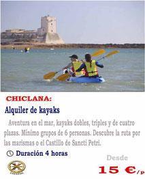alquiler de kayaks en Chiclana de la frontera