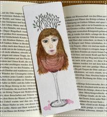 Lesezeichen, Original Illustration, Motiv Mädchenkopf/Weinglas