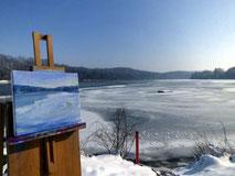 Pleinairbild, Winterlandschaft am Lech
