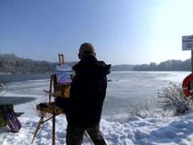Pleinairmalerei am eisigen Lech