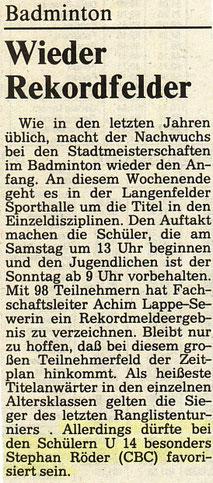 WZ vom 09.02.1991 Wuppertaler Stadtmeisterschaften Jugend Einzel