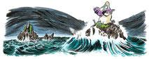Tölpel, Irland, Atlantik, Basstölpel, Gannet, Meer, Vogel, Fisch, Felsen, Comic