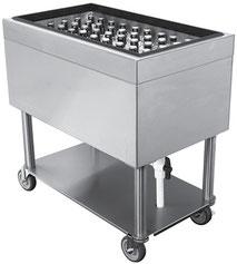 Edelstahl Flaschenkühler, Eiswanne auf Untergestell, fahrbar.