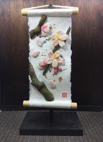 chirimen washi art kakejiku sakura