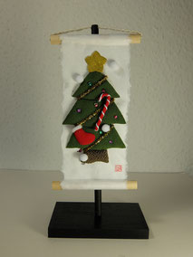 chirimen washi art kakejiku christmas tree
