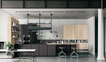 cuisine Italienne moderne design contemporaine blanche noir coloré bois chêne