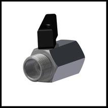 """Mini-Kugelhahn G3/8"""" IG/AG  (Messing Verchromt)  (KH-38)"""
