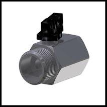 """Mini-Kugelhahn G3/4"""" IG/AG  (Messing Verchromt)  (KH-34)"""