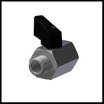 """Mini-Kugelhahn G1/4""""  IG/AG  Edelstahl  (KH-14-SS)"""