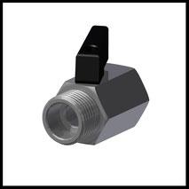 """Mini-Kugelhahn G1/2"""" IG/AG  (Edelstahl)  (KH-12-SS)"""