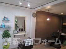 柏市 美容室店舗リフォーム クロス貼り替え 長尺シート ミニキッチン取付