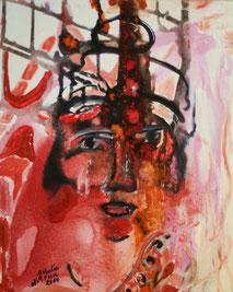 """Nathalie Arun """"upcoming king"""", 40 x 50 cm, mixed media on canvas 2014"""