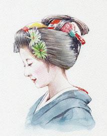 和風イラスト「祝いの日」芸妓、水彩画・福井良佑