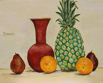 Still-Life with Pineapple, Painting by Sarah Myers