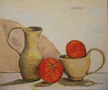 Still-Life with Two Oranges, Painting by Sarah Myers