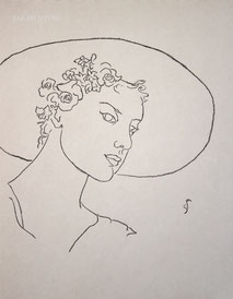 Sun-hat and Flowers, line drawing by Sarah Myers