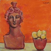 Still-Life with Sculpture and Lemons, painting by Sarah Myers