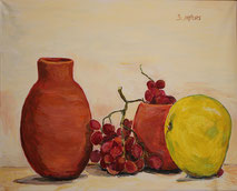 Still-Life with Pumello, painting by Sarah Myers