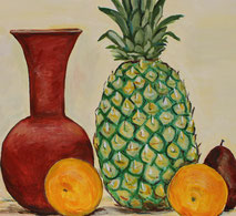 Still-Life with Pineapple, detail, painting by Sarah Myers