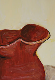 Still-Life with Red Pitcher, detail, painting by Sarah Myers