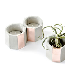 Concrete Copper Hexagon Air Plant or Tea Light Candle Holder by PASiNGA