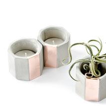 Concrete Copper Hexagon Air Plant or Tea Light Candle Holder by PASiNGA