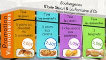 Dans le 1000 Communication - Agence graphique en Loir-et-Cher - Création de flyers, plaquettes, affiches, cartes de visite, banderoles - Ecran de promotion boulangerie Marie Stuart Orléans