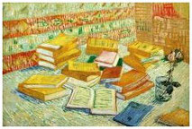 painting : Vincent van Gogh - Still life with french novels and a rose