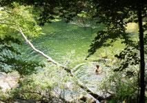 Baignade en rivière. Le Tarn dans les Cévennes.