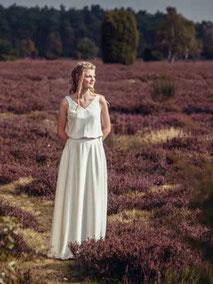 zweiteiliges Brautkleid mit Spitzentop im Boho Stil