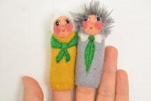 Fingerpuppe handgefilzt Oma und Opa von Faserverbund