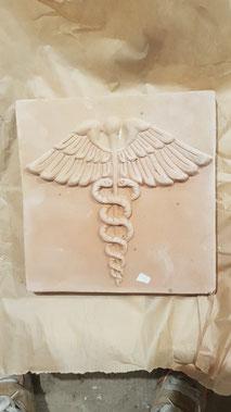 mattonella in cotto Asclepio medica 20 x 20 cm spessore 2.5 cm 43,00 euro