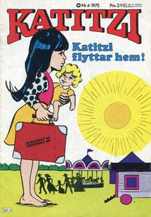 Katitzi Comic Nr. 4 von 1975, u.a. mit einer Geschichte von Bengt-Åke Cras, illustriert von Eva Jann