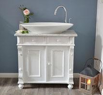 Weißer Waschtisch Antik mit Marmor