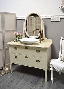 Spiegelkommode shabby in creme-weiß