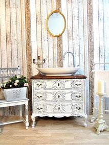 Eleganter Barock-Waschtisch in weiß