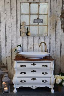 Barocke Waschtisch-Kommode mit dunkler Platte