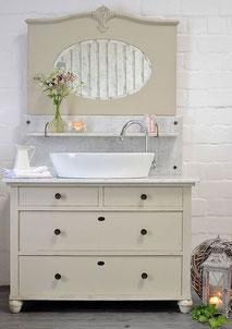 Art Déco Wastisch mit Marmor und Spiegel