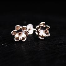 Boucles d'oreilles en fleur de lotus, fabriquées à la main en France, Nantes, en argent 925