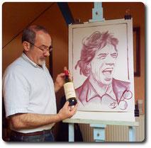 Portraits d'apres photos peinture au vin