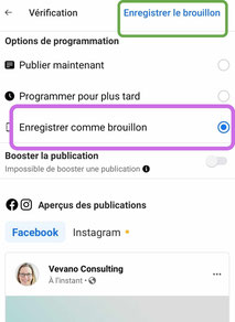 enregistrer brouillon de publication facebook suite business mobile telephone