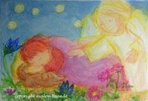 061 Schlafendes Kind Schutzengel Blumen*