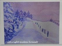 Weg im Schnee, Aquarell